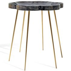 PETAL SIDE TABLE - GOSTSKIN/BRASS