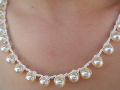 White Pearls Necklace by Meravelousjewelry on Etsy https://www.etsy.com/listing/205582165/white-pearls-necklace