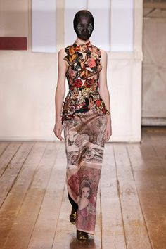 Maison Martin Margiela Artisan collection made using silk scarves joined together and Sailor Jerry's Rum tatoo inspired embroidery patches sewn together. LOVE