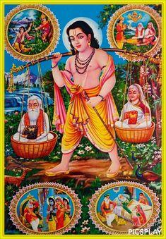 Shravan Kumar Religious Vintage India Old Hindu Print Marathi Calligraphy, Litho Print, Vintage India, Lord Krishna, Shiva, Hindu Art, Mythology, Disney Characters, Fictional Characters