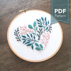 Fabulous Floral Embroidery Designs - Floral Leaf Heart- Digital PDF Hand Embroidery Pattern has been designed for a 6 inch hoop. Paper Embroidery, Japanese Embroidery, Hand Embroidery Stitches, Modern Embroidery, Crewel Embroidery, Hand Embroidery Designs, Vintage Embroidery, Embroidery Techniques, Cross Stitch Embroidery