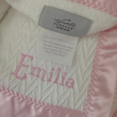 The Gabriel Forever Blanket with pink satin trim and matching name monogram. Uniquely personalized heirloom baby gift. Made in USA. Support adoption. #swellforever