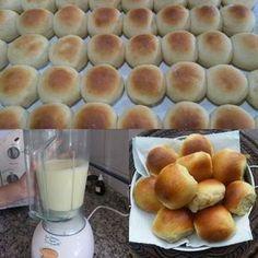 Ingredientes 1 kg de farinha de trigo 1 colher (sopa) de margarina 1/2 colher (sobremesa) de sal 1/2 copo de leite 1/2 xícara de açúcar 2 batatas cozidas 2 tabletes de fermento (15g) 2 colheres (sobremesa) de óleo 2 ovos Como Preparar Bata tudo...