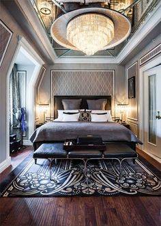 Great Gatsby Suite at The Plaza Hotel: Very nice design for a master bedroom! Dream Rooms, Dream Bedroom, Home Bedroom, Bedroom Decor, Master Bedrooms, Bedroom Furniture, Furniture Design, Master Suite, Art Deco Bedroom