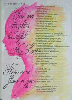 Song of Solomon 4:7 Bible art journaling by @peggythibodeau www.peggyart.com