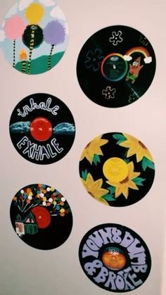Cd Wall Art, Record Wall Art, Cd Art, Vinyl Record Crafts, Vinyl Art, Vinyl Wall Decor, Aesthetic Painting, Aesthetic Room Decor, Custom Wall