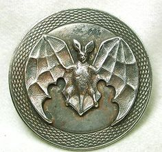 Old French Metal Button Large Size Flying Bat w/ Fancy Border