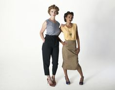 Organic Cotton Sleeveless Shell Top in Blue Gingham and Sunshine Yellow + Black Cotton High Waisted Pleated Trousers + Beige/Black Organic Cotton Fitted Pencil Skirt [brm 2015]