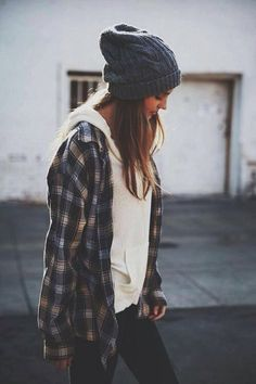 white pullover sweater, plaid button up shirt, black skinny jeans, gray beanie. tomboy, skater, travel, basic, casual, comfy, kickback, lounge, camping, college, weekend, hangout, layers, fall or winter outfit.