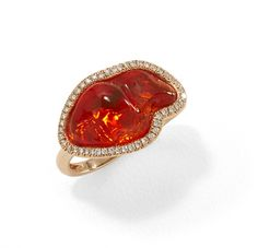 Red Opal & Diamond Halo Ring   Tanari Jewelry Red Opal, Mexican Designs, Pomellato, Halo Rings, Opal Jewelry, 18k Rose Gold, Halo Diamond, Heart Ring, Fire Opals