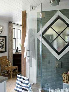Master bathroom in a lake house. Design: Thom Filicia. housebeautiful.com. #bathroom #tile #shower