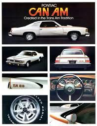 1977 Pontiac Can Am advertising.  This car filled a slot between the sportiness and luxury of a Grand Prix with the performance and style of a Trans Am.