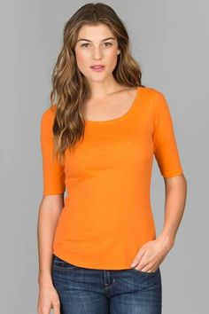 <P>Our 1x1 Classic Rib has wonderful memory and recovery. With slightly more weight than our other collections, this shirt falls right at the hip lending to its classic design.</P> <p>This is the perfect tee.  Elbow sleeves, a feminine ballet neck and shirttail hem add just enough details to this style.  Wear it with anything in your closet, it will become a fast favorite.</p>