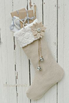 Handmade Christmas Stocking on Etsy in wool houndstooth. The neutrals are so elegant! This is why everyone loves Etsy. Decoration Christmas, Burlap Christmas, Christmas Sewing, Noel Christmas, Homemade Christmas, Winter Christmas, Vintage Christmas, Christmas Decorations, Natural Christmas