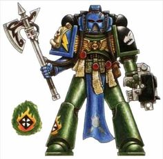 A Salamanders Codicier armed with Bolt Pistol and Force Axe; note the Third War for Armageddon campaign markings.