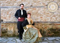 Macedonian couple wearing traditional clothes from Edessa, historical Macedonia, Greece Greek Costumes, Macedonia Greece, Costumes Around The World, Alexander The Great, Traditional Clothes, Greeks, Color 2, 2 Colours, Culture