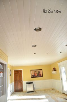 DIY plank ceiling - trying to convince Ray to do this in our living room/dining room - I hate the popcorn ceiling!
