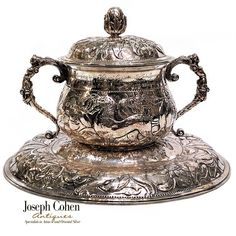 MAGNIFICENT ANTIQUE ENGLISH SILVER PORRINGER WITH STAND, INSCRIPTION & ARMORIAL, 16TH/ 17th CENT. STYLE Joseph, English, Antiques, Silver, Style, Antiquities, Swag, Antique, English Language