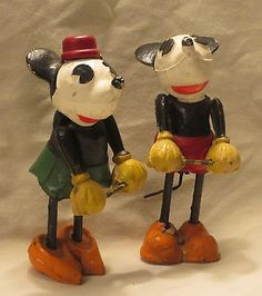 Mickey & Minnie Mouse toy wooden figurines (1930's)