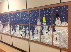 winter themed bulletin board - snowman in