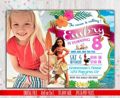 Moana Invitation, Moana Invitation, Moana summer invitation, Moana summer party, Moana Party Invite, to Any age. M015   Thank you for stopping by, please read all the instruction before making any purchase.  This listing is for the creation and delivery of a DIGITAL FILE for you
