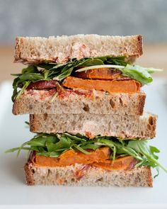 Roasted Sweet Potato, Goat Cheese & Arugula Sandwich