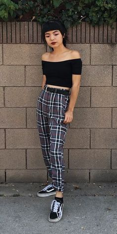 Off-the-shoulder black crop top with plaid pants & Vans by lilcrybaaby