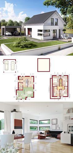 Modernes Fertighaus - Grundriss mit Carport und offenem Wohn-Essbereich - Haus Edition 4 V4 Bien Zenker - HausbauDirekt.de