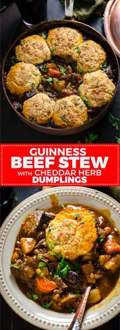 Guinness Beef Stew with Cheddar Herb Dumplings. Rich, comforting, and deeply flavorful. | hostthetoast.com