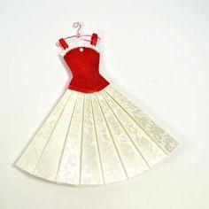 paper dress art | Red Velvet White Paper Fashion Dress Paper Art by kellbellestudio, $30 ...