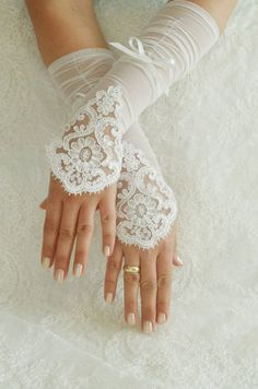 ivory Wedding Glove ivory lace gloves Fingerless by WEDDINGHome, $32.00