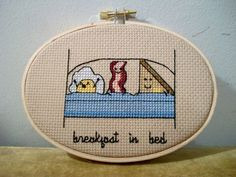 Breakfast In Bed cross stitch  cute egg bacon and by aliciawatkins, $45.00