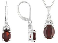 5.08ctw Oval Vermelho Garnet Sterling Silver Earrings And Pendant With Chain Set