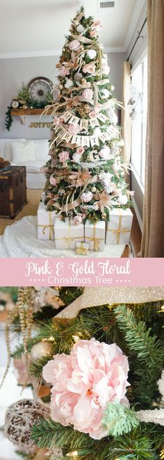 christmas tree ideas flowers GORGEOUS Pink + Gold Floral Christmas Tree :: Love the peonies! Gold Christmas Tree, Beautiful Christmas Trees, Christmas Tree Themes, Winter Christmas, Xmas Tree, Christmas Projects, Champagne Christmas Tree, Christmas Tree Flowers, Tree Tree