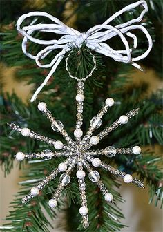 easy to make Snowflake Craft, Snowflake Ornaments, Christmas Snowflakes, Christmas Time, Beaded Snowflake, Beaded Christmas Ornaments, Christmas Tree Decorations, Bead Crafts, Holiday Crafts