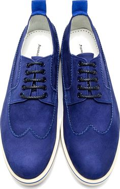 White Mountaineering: Blue Suede Longwing Austerity Brogues #shoes