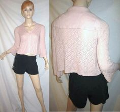 CAbi 918 Open Crochet Pointelle Knit Pink Sailor Flap Collar Cardigan Sweater S...see more details at this link - http://stores.shop.ebay.com/vintagefluxed