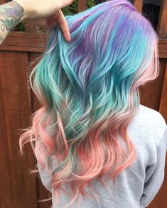 40 Cool Pastel Hair Colors in Every Shade of Rainbow Purple Teal And Pink Balayage Hair Hair Color Pastel Pastel Hair Ideas You'Hair Color Cool Blue 19 I Hair Dye Colors, Ombre Hair Color, Hair Color Balayage, Cool Hair Color, Teal Hair, Rainbow Hair Colors, Pastel Rainbow Hair, Mermaid Hair Colors, Unicorn Hair Color