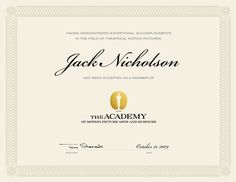 Academy of Motion Picture Arts and Sciences® membership certificate design