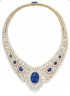 Sapphire and diamond necklace. Christie's.