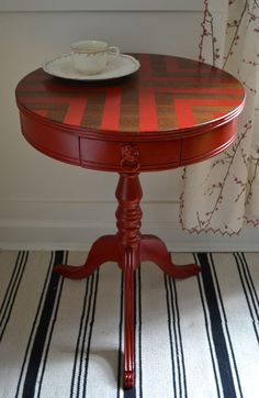 Red Chevron Painted Round Side Table - Revived Vintage. $225.00, via Etsy., keep for this painting idea on table top, love it!