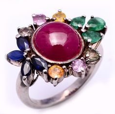 Ruby,Emerald,Sapphire, ring in 925 silver
