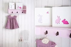 Pink Nursery Art Baby Girl Nursery Bunny Art by hooknloopdesign, $45.00
