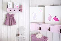 Pink Nursery Art Baby Girl Nursery Bunny Art by hooknloopdesign, $45.00