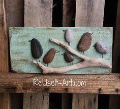 "Rock Art Wood Sign,Birds in a Tree,  Rustic Pallet Art  5.1/2"" x 12"""