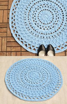 Andromeda Mandala Rug is made with T-shirt yarn and is approx. 88 cm (35in) large across. But of made with lighter yarn and smaller hook it can become a nice doily, wall hanging, table decoration or applique for a fabric pillowcase.