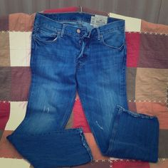 ** SOLD** NWOT Men's Hollister These men's Hollister boot it jeans are amazing but fit too snug for my man he wore them to one dinner and didn't like the fit. They are not tight  in my opinion. Run true to size no damages at all. Clean. Hollister Jeans