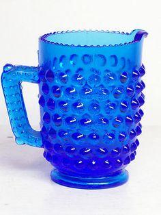 "Vintage Fenton Hobnail Glass Peacock Blue 3"" Handle Pitcher Creamer Unmarked  $4.99"