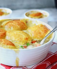Bisquick Chicken Pot Pie - autumn favorite comfort food, full of chicken and vegetables in creamy filling, topped with easy Bisquick crust; no canned soup used