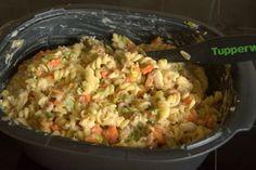 Spirelli met kabeljauw en groenten in een romige saus